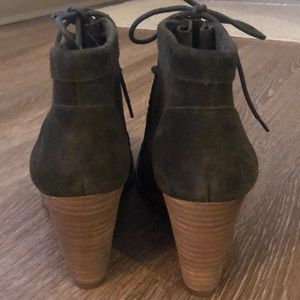 Lucky Brand Shoes - Lucky Brand green suede wedge booties